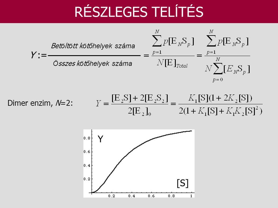 RÉSZLEGES TELÍTÉS Y := Y [S] Dimer enzim, N=2:
